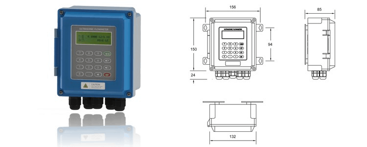 Clamp on Ultrasonic Flow Meter dimension